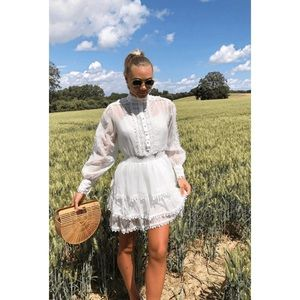 Dresses & Skirts - 🌴WHITE LACE TIERED SKATER SHIRT DRESS